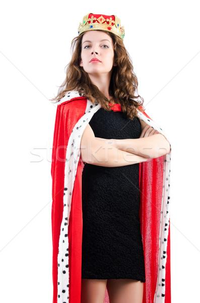 Foto stock: Rainha · empresária · isolado · branco · trabalhar · empresário