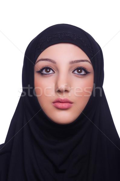 ストックフォト: ムスリム · 若い女性 · 着用 · ヒジャーブ · 白 · 女性