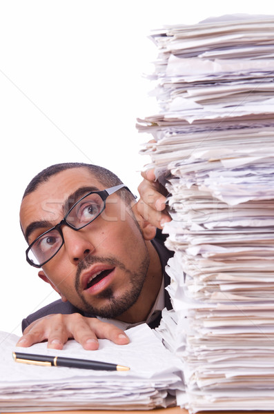 Stock photo: Busy businessman with lots of papers