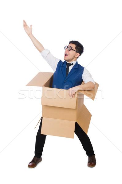 Photo stock: Homme · pense · à · l'extérieur · boîte · affaires · travailleur