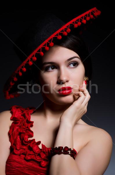 Vonzó lány vörös ruha szexi tánc divat piros Stock fotó © Elnur