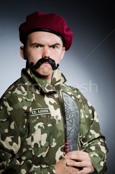 Funny żołnierz ciemne człowiek zielone wojny Zdjęcia stock © Elnur