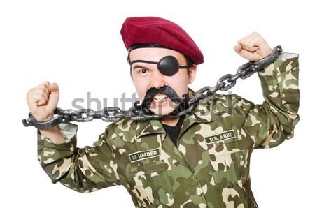 Stok fotoğraf: Komik · asker · yalıtılmış · beyaz · adam · arka · plan