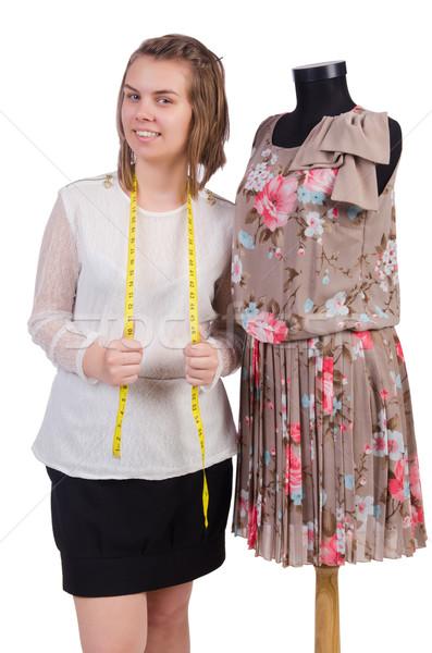 Mujer sastre aislado blanco moda trabajo Foto stock © Elnur
