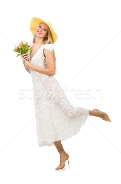 Kadın elbise moda yalıtılmış beyaz çiçekler Stok fotoğraf © Elnur