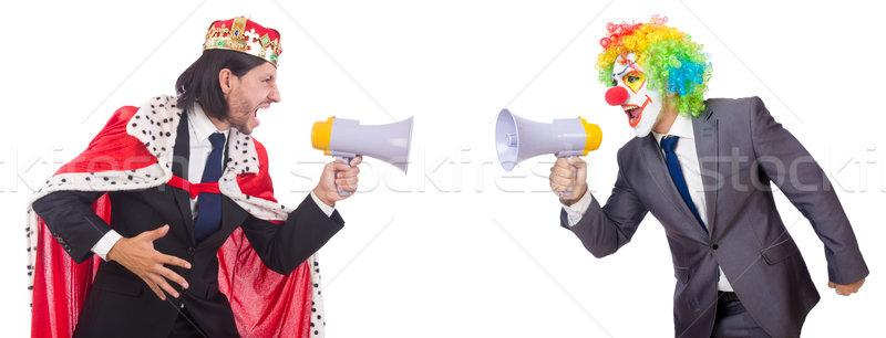 Zakenman clown luidspreker witte gezicht man Stockfoto © Elnur