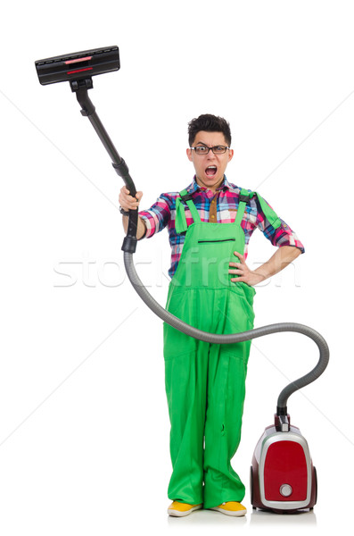 Divertente uomo verde vuoto pulizia casa Foto d'archivio © Elnur