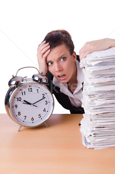 Vrouw zakenvrouw stress vermist deadlines klok Stockfoto © Elnur