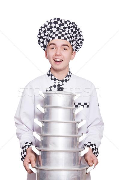 Grappig mannelijke kok geïsoleerd witte man Stockfoto © Elnur