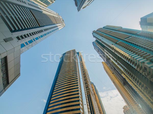 Lang Dubai jachthaven wolkenkrabbers business hemel Stockfoto © Elnur