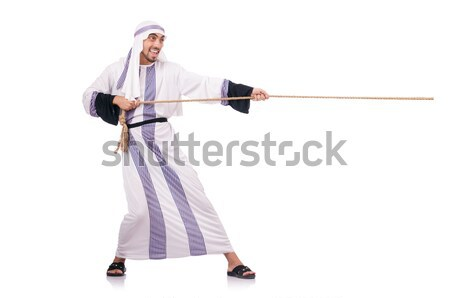 Funny karate fighter with nunchucks on white Stock photo © Elnur