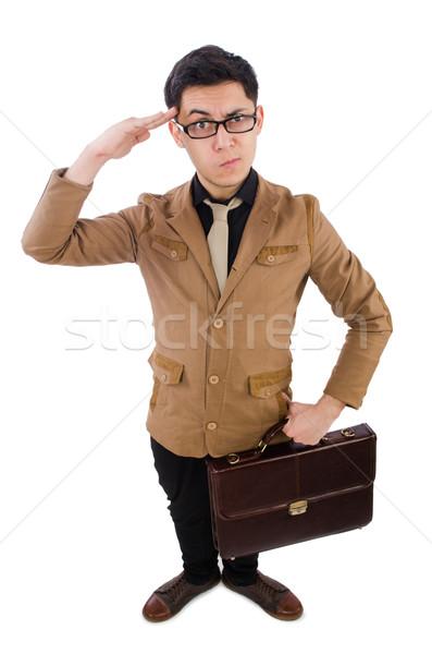 若い男 ブラウン ブリーフケース 孤立した 白 背景 ストックフォト © Elnur
