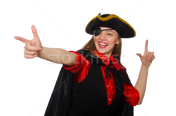 Pretty pirate girl in carnival clothing isolated on white Stock photo © Elnur