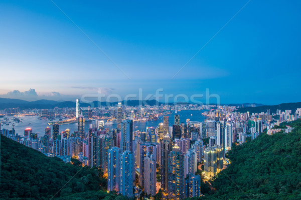 View of Hong Kong during sunset hours Stock photo © Elnur