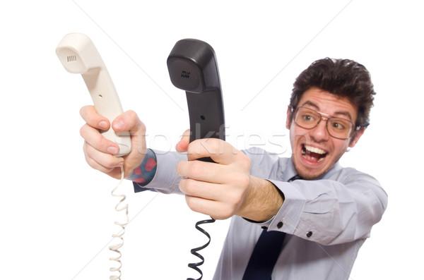 Genç call center işçi yalıtılmış beyaz telefon Stok fotoğraf © Elnur