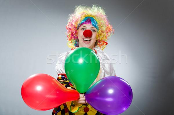 ピエロ 風船 面白い 幸せ 楽しい 虹 ストックフォト © Elnur