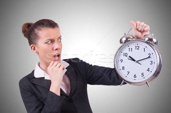 Donna gigante clock bianco ufficio lavoro Foto d'archivio © Elnur