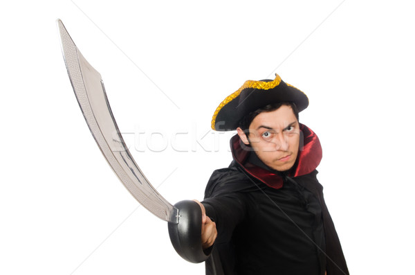 Stock photo: Young man wearing tricorn and coat isolated on white