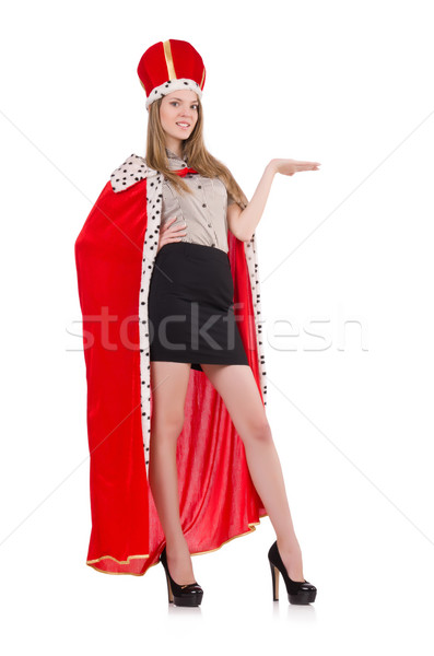 Csinos nő visel korona piros kabát izolált Stock fotó © Elnur