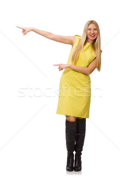 Pretty fair girl in yellow dress isolated on white Stock photo © Elnur