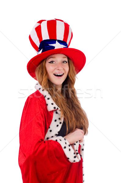 笑みを浮かべて 少女 アメリカン 帽子 ロイヤル コート ストックフォト © Elnur