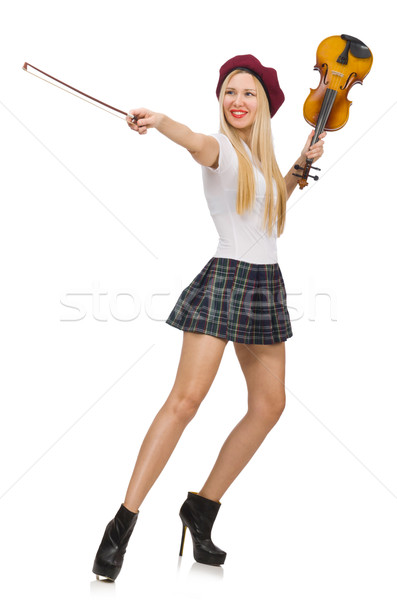 Mulher jogar violino isolado branco arte Foto stock © Elnur