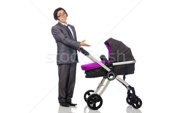 Grappig vader baby kinderwagen witte familie Stockfoto © Elnur