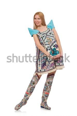 ストックフォト: 女性 · 青 · ドレス · オリエンタル · 孤立した · 白