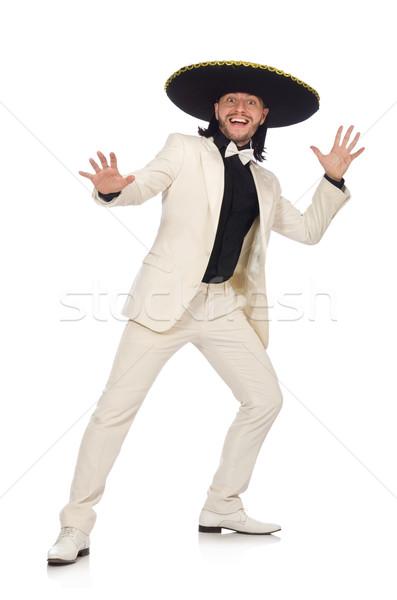 Vicces mexikói öltöny szombréró izolált fehér Stock fotó © Elnur