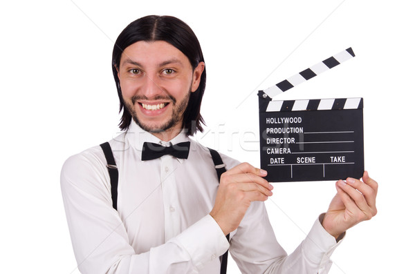 Young gentleman with clapperboard isolated on white Stock photo © Elnur