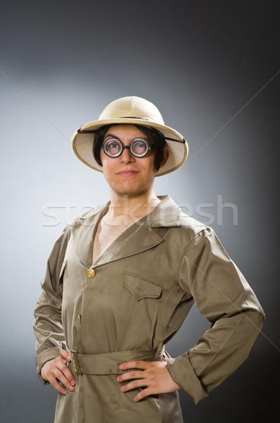 Mann tragen Safari hat funny Sonne Stock foto © Elnur
