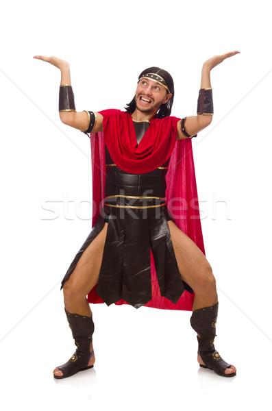 Gladiador isolado branco homem vermelho roupa Foto stock © Elnur