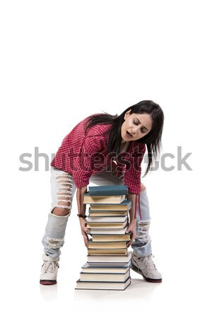 Stock photo: Young female student preparing for exams