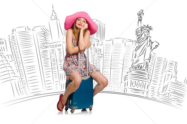 若い女性 旅行 米国 少女 幸せ 背景 ストックフォト © Elnur