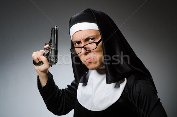 человека монахиня пистолет девушки Церкви поклонения Сток-фото © Elnur