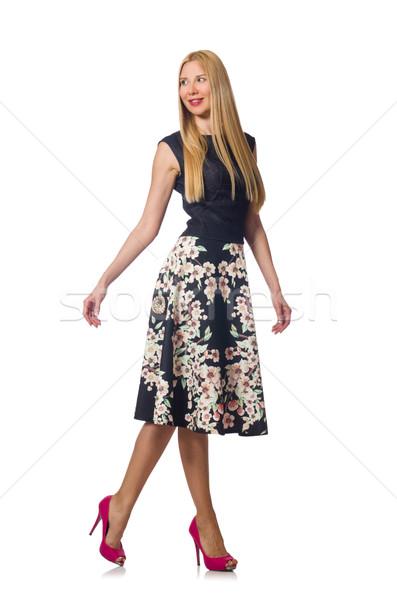 Femme noir floral robe isolé blanche Photo stock © Elnur