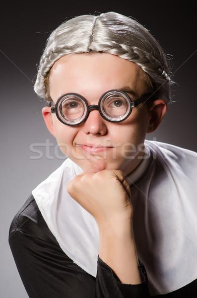 Funny man wearing nun clothing Stock photo © Elnur
