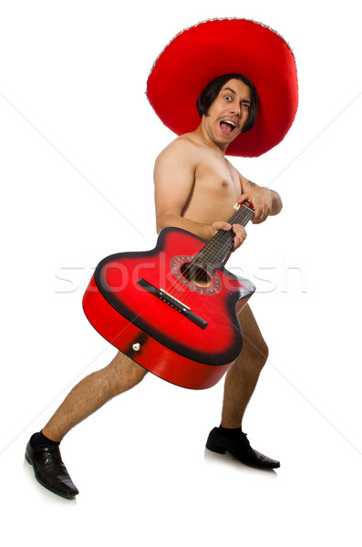 Nude man with sombrero playing guitar on white Stock photo © Elnur
