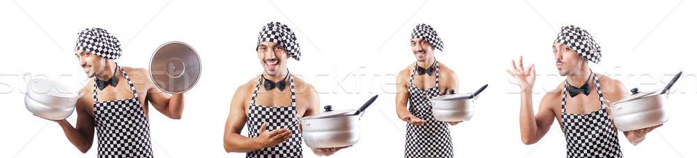 Sexy мужчины Кука изолированный белый продовольствие Сток-фото © Elnur
