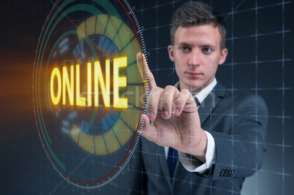 üzletember kisajtolás virtuális gomb online üzlet Stock fotó © Elnur