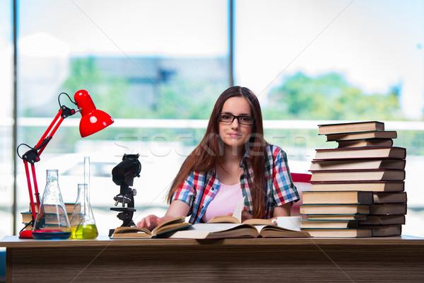 женщины студент химии экзамены девушки книга Сток-фото © Elnur