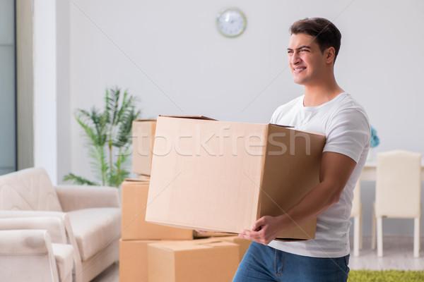 Stock fotó: Fáradt · futár · doboz · ház · férfi · otthon