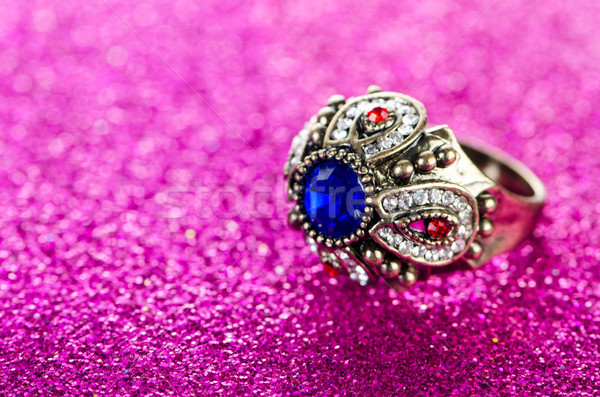 ювелирных кольца синий цепь Diamond Сток-фото © Elnur