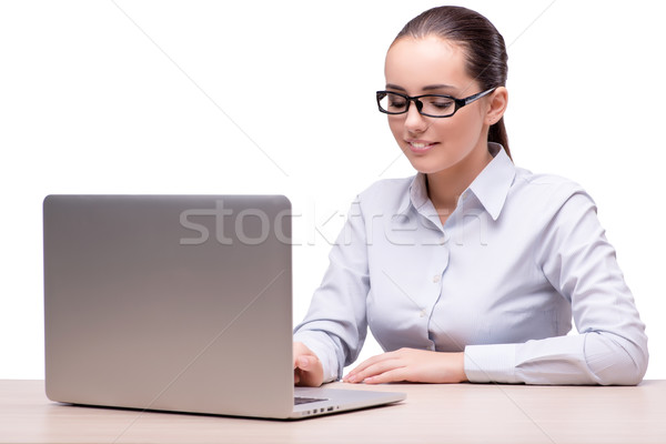 The businesswoman working at her desk on white background Stock photo © Elnur