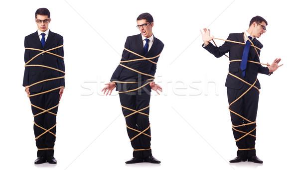 The businessman roped isolated on white background Stock photo © Elnur