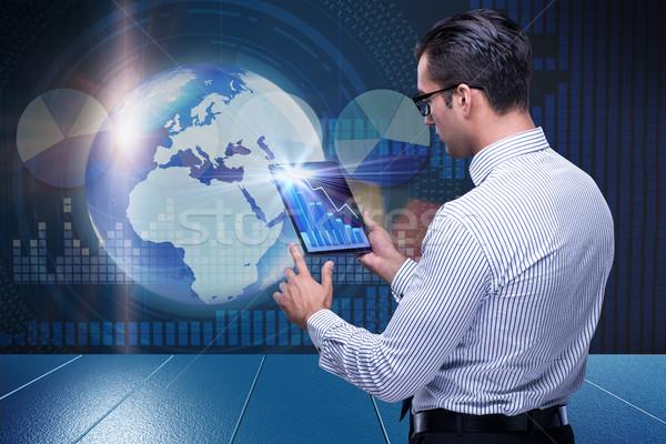 Empresario futurista informática mundo tierra red Foto stock © Elnur