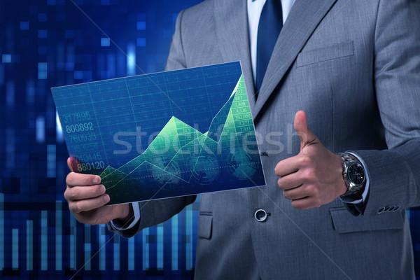 Empresario Screen mercado comillas ordenador Foto stock © Elnur