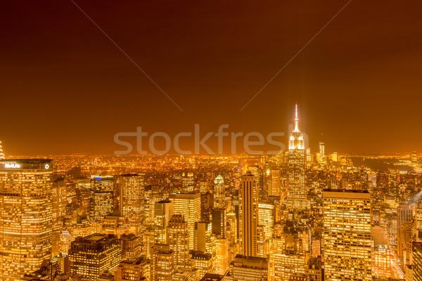 Nuit vue nouvelle Manhattan coucher du soleil affaires Photo stock © Elnur