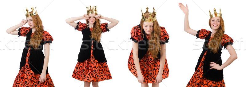 Grappig vrouw koningin kroon witte Stockfoto © Elnur