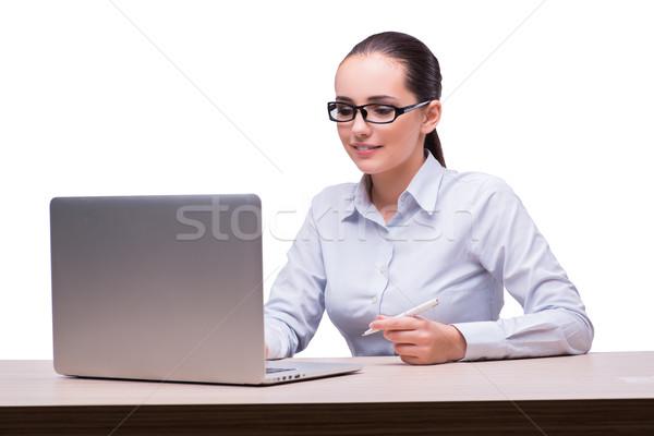 Stock fotó: Fiatal · üzletasszony · laptop · izolált · fehér · üzlet